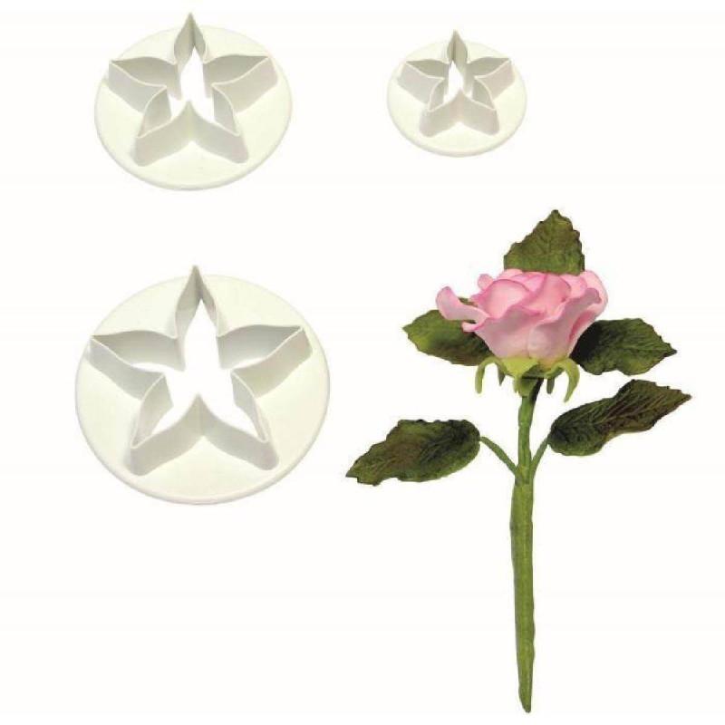 Set 3 emporte-pièces Calice de Rose PME