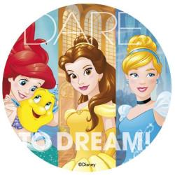 Disque en sucre LES PRINCESSES DISNEY -Ariel , Belle et Cendrillon