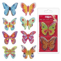 8 Mariposas en papel de Oblea Colores surtidos