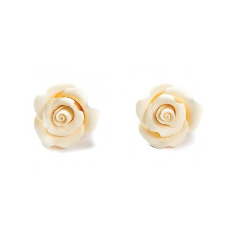 8 Rosas de Azúcar BLANCAS Diam. 3,5 cm