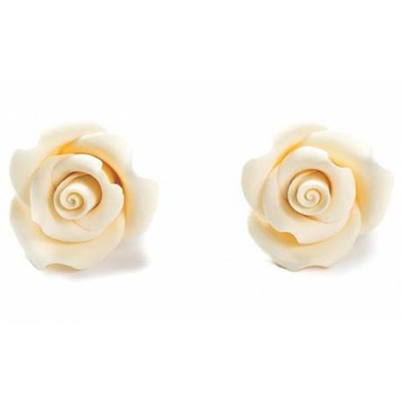 6 Roses BLANCHES en sucre Diam. 5 cm