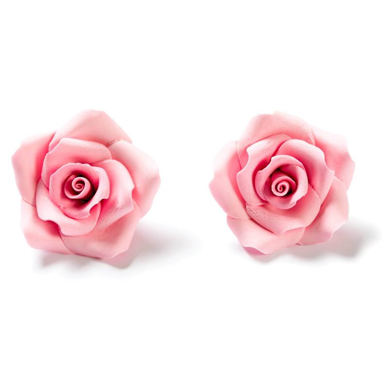 6 Roses couleur ROSE en sucre Diam. 5 cm