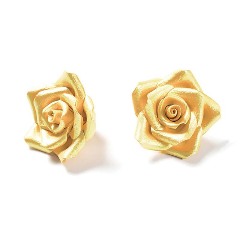 6 Roses couleur OR en sucre Diam. 5 cm