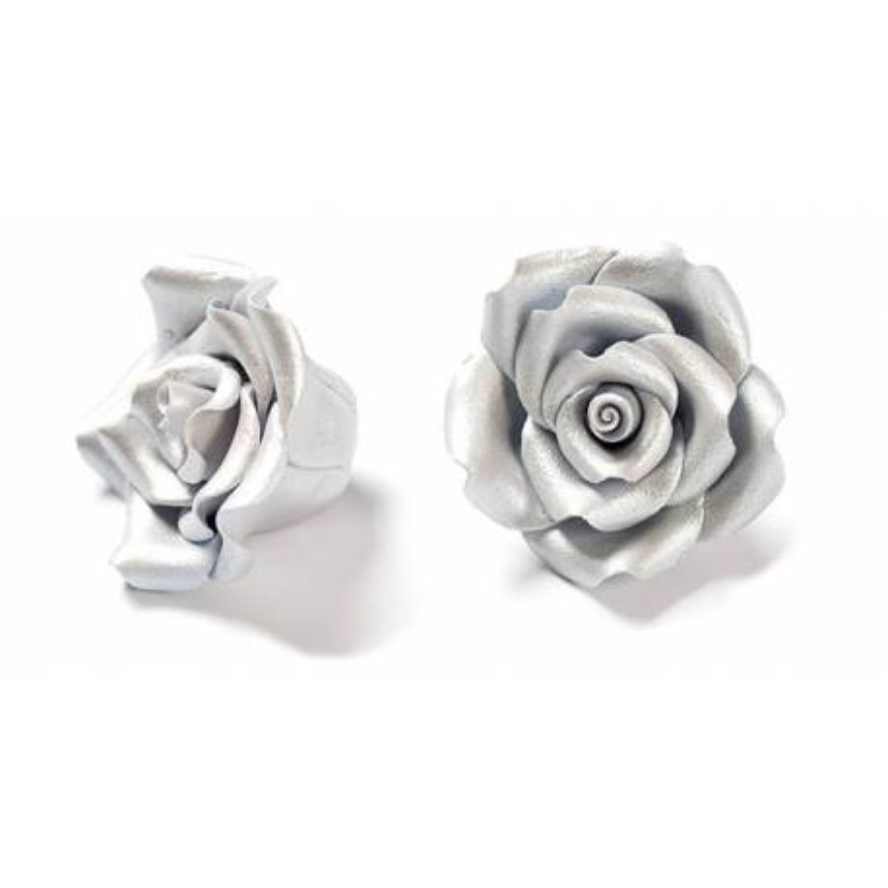 6 Roses couleur ARGENTÉ en sucre Diam. 5 cm