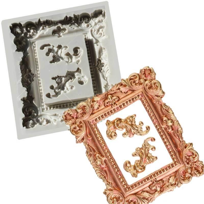 Moule en silicone GRAND CADRE BAROQUE Royal + Ornements