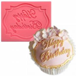 Moule en silicone Plaque 'Happy Birthday'