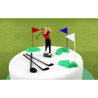 Set decoration GOLF plastic - player, clubs and flags