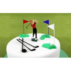 Set décoration GOLF en plastique - Joueur, clubs et drapeaux