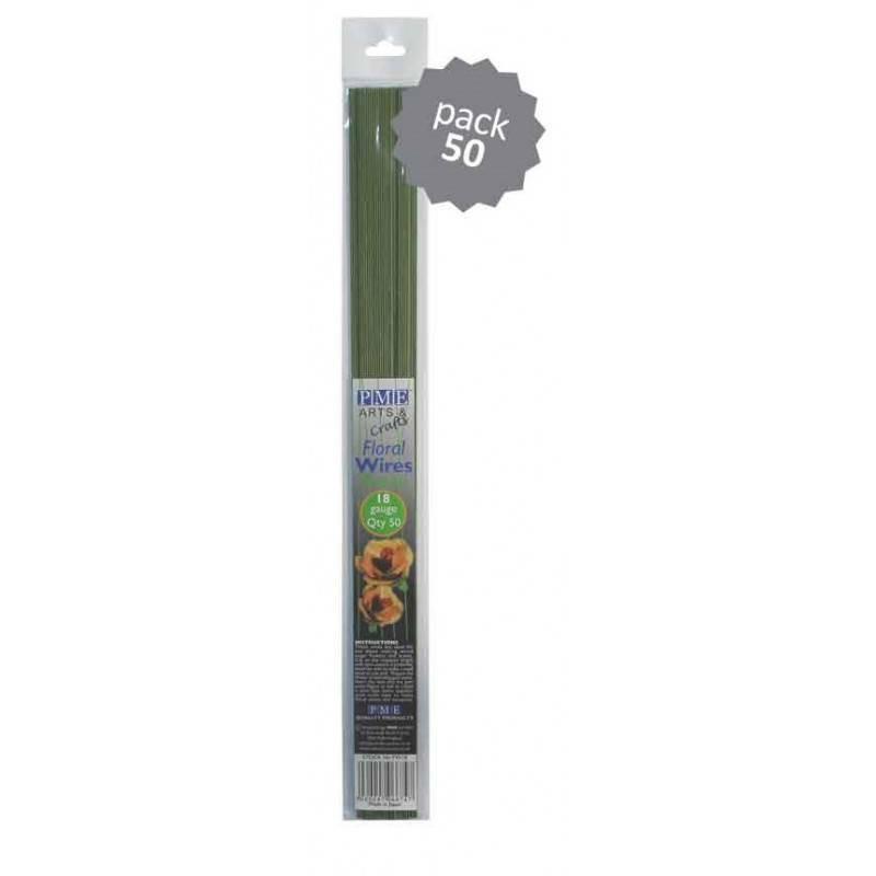 50 Tallos en flor PME gauge 26 VERDE OSCURO