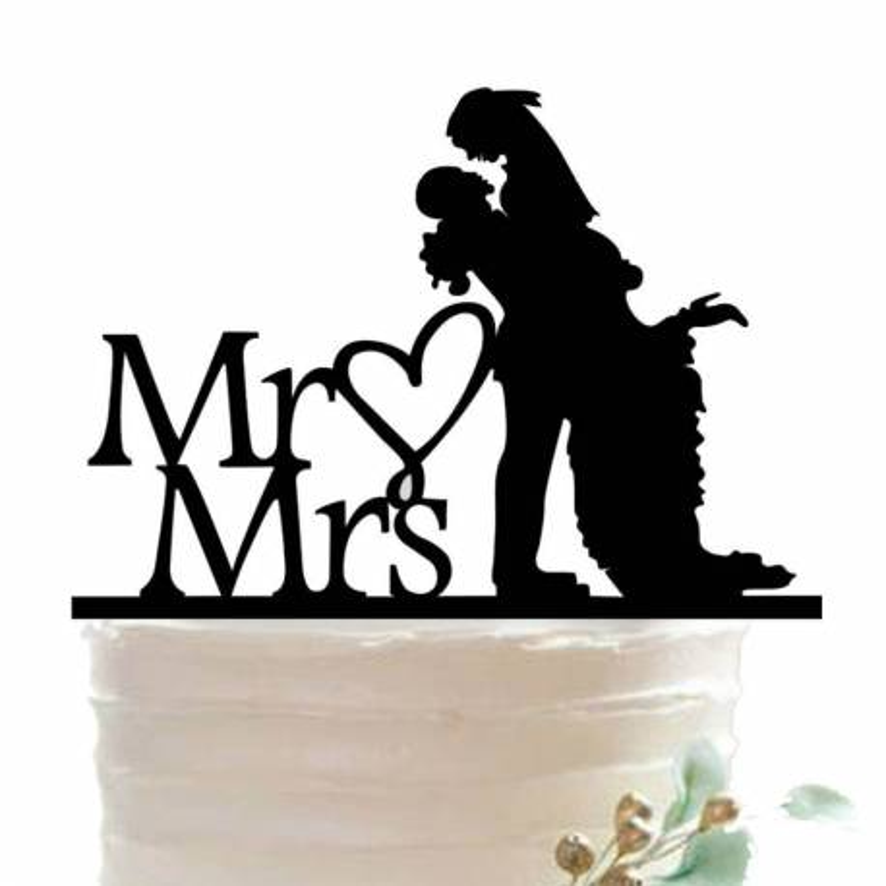 Sr. y Sra. Silhouettes - tema del pastel de bodas
