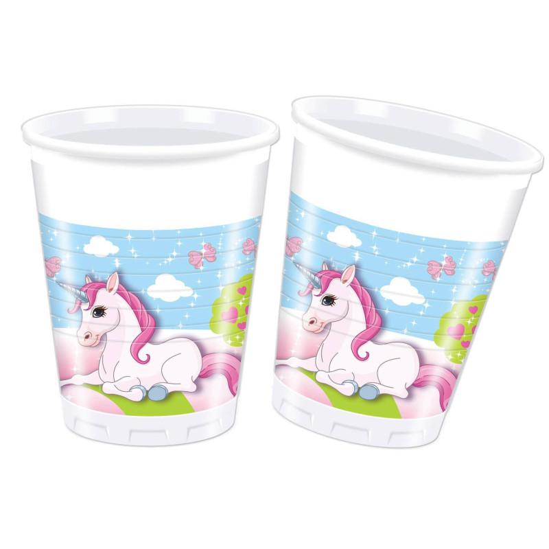 8 Vasos de Plastico Unicornio