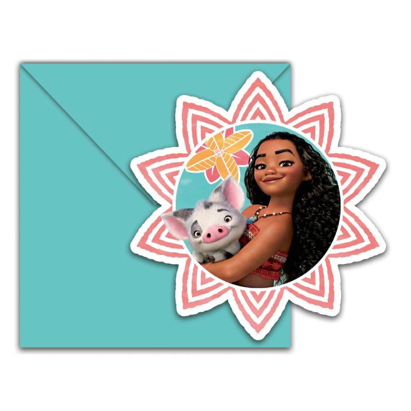 6 Cartes d'invitation et enveloppes VAIANA