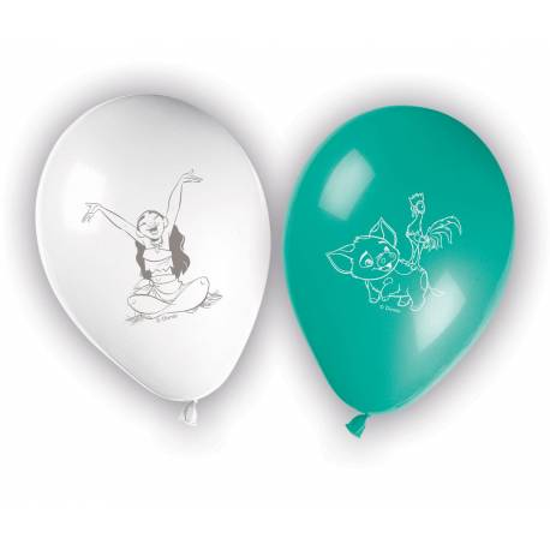 8 MOANA printed balloons