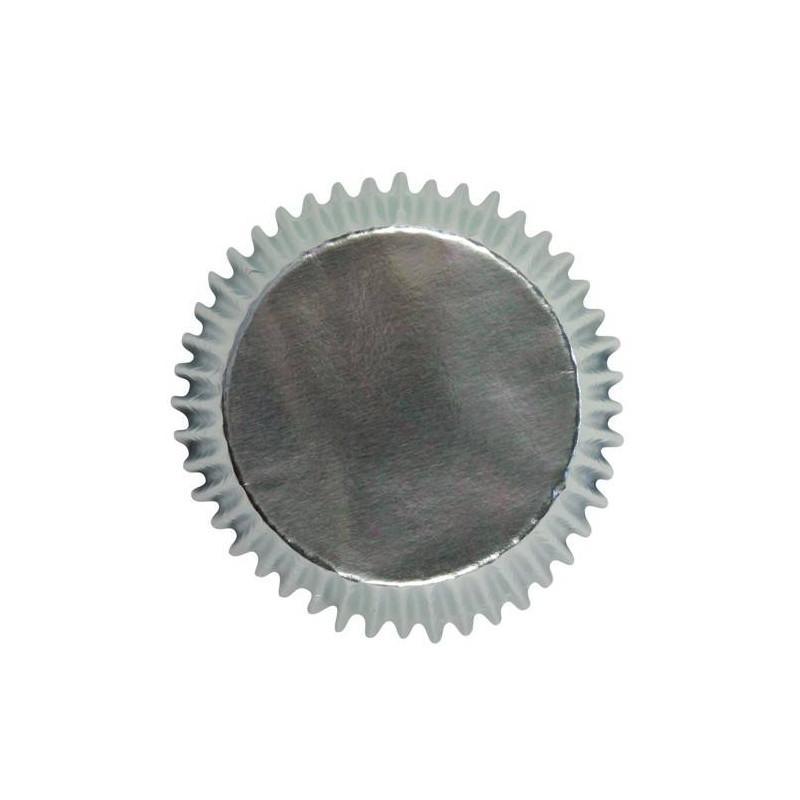 45 mini caissettes cupcake argenté