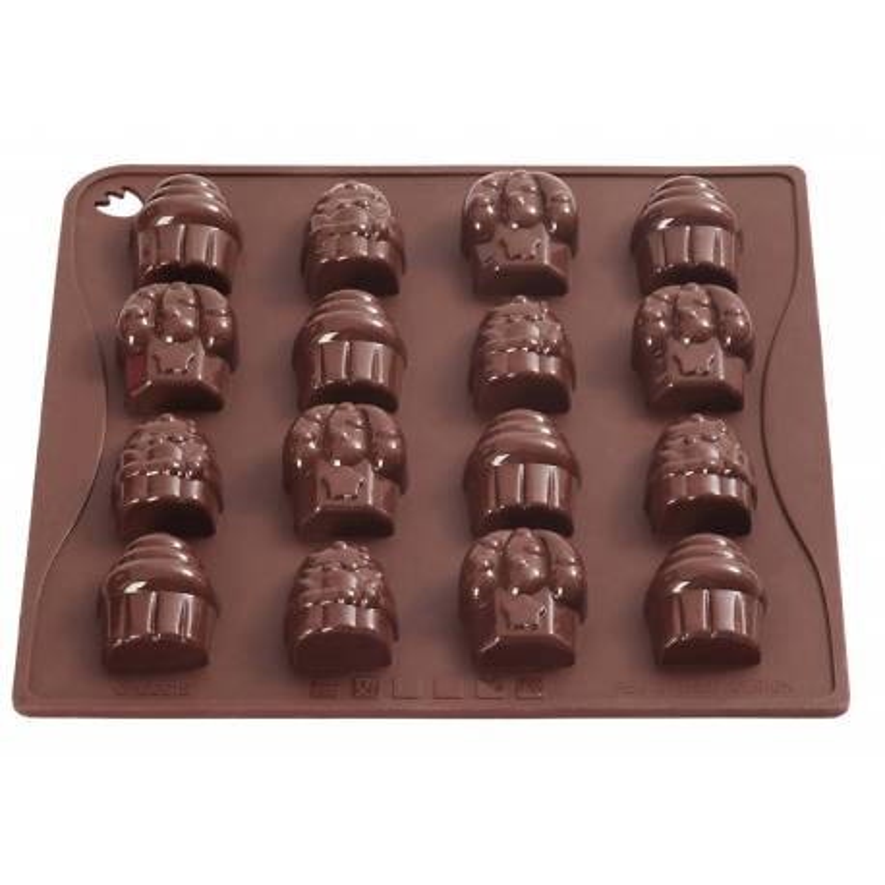 Moule silicone de 16 Chocolats forme CUPCAKES