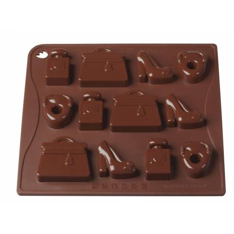 Moule Silicone De 12 Chocolats Theme Mode Fashion Victim Cake Design