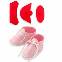 Kit 3 cookie cutters baby shoe in 3D