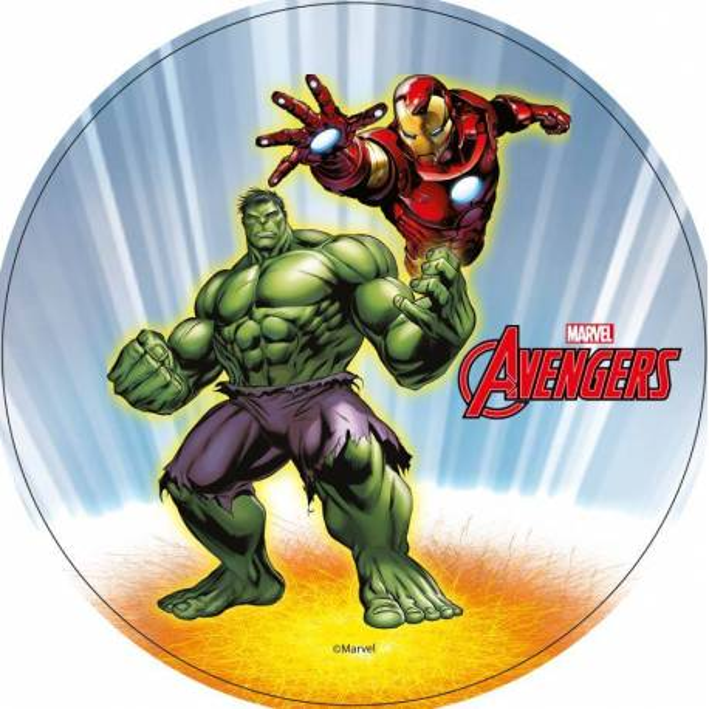 Disco en papel de oblea Iron Man y Hulk
