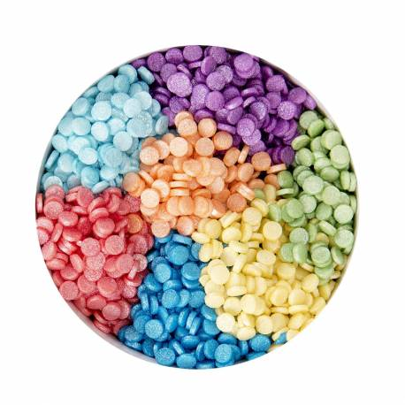 Set de 7 palos Confettis colores arco iris