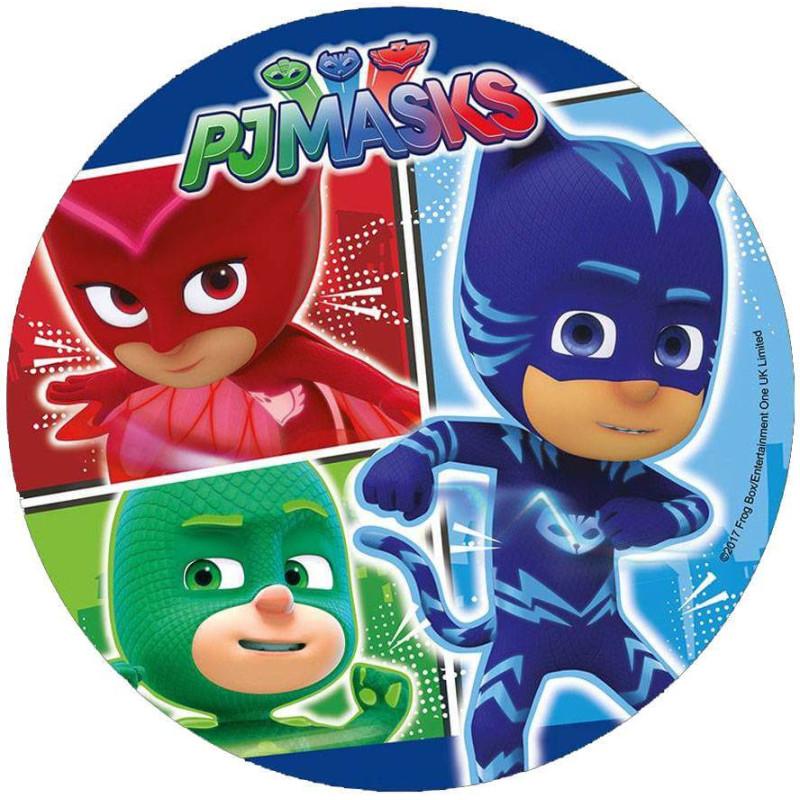 Disco en papel de oblea Heroes en Pijamas- Héroe azul en grande