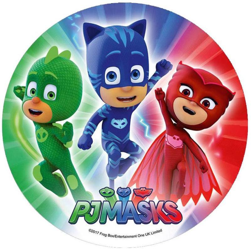 Disco en papel de oblea Heroes en Pijamas- 3 héroes despegando
