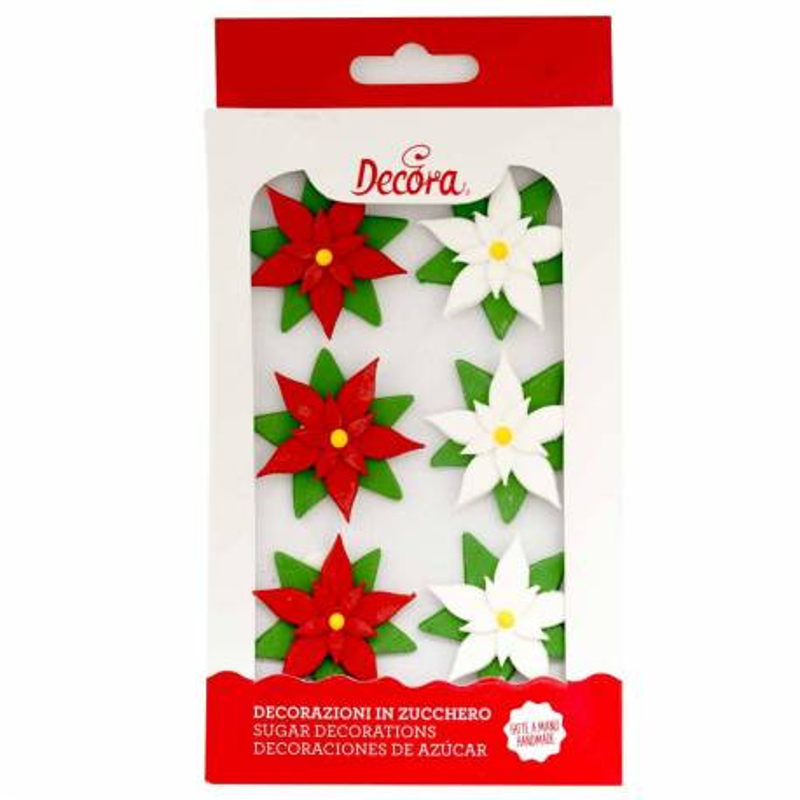 6 Fleurs en sucre Poinsettia Noel
