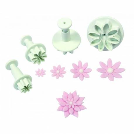 set of 4 daisy push-pieces cutters
