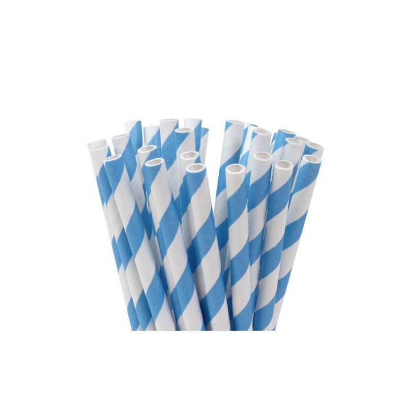 24 Palitos de Pastel de Rayas Azules y Blancas
