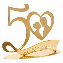 50th anniversary gold 16 cm wedding Topper