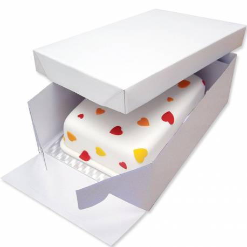 Oblong Cake Box & silver thin Board Set 35x25cm