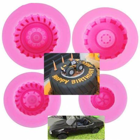 4 silicone moulds Car wheel