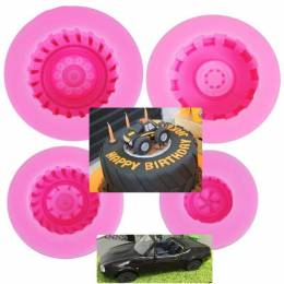 4 molds silicone car wheel