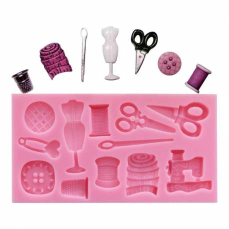 Silicone mould for sewing objects