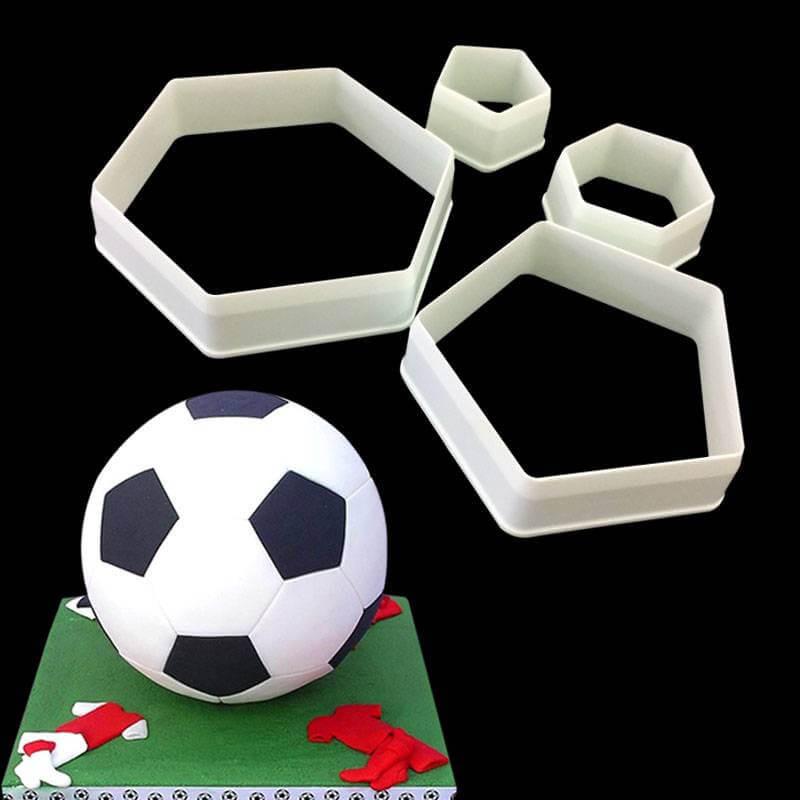 Juego de 4 cortadores hexagonales BOLA de fútbol