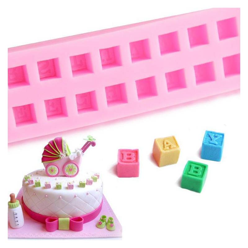 Moule Silicone Cubes alphabet Bébé