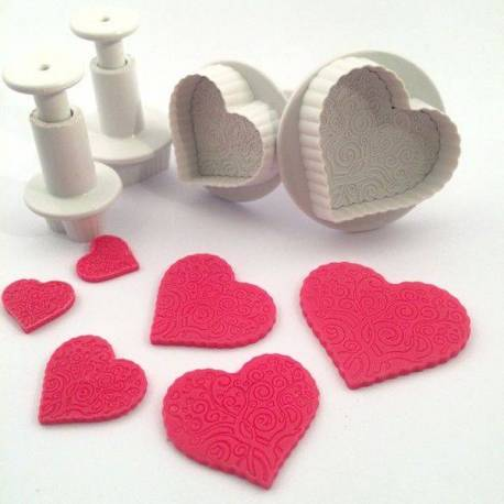 Set of 4 plunger cutters Printed Heart