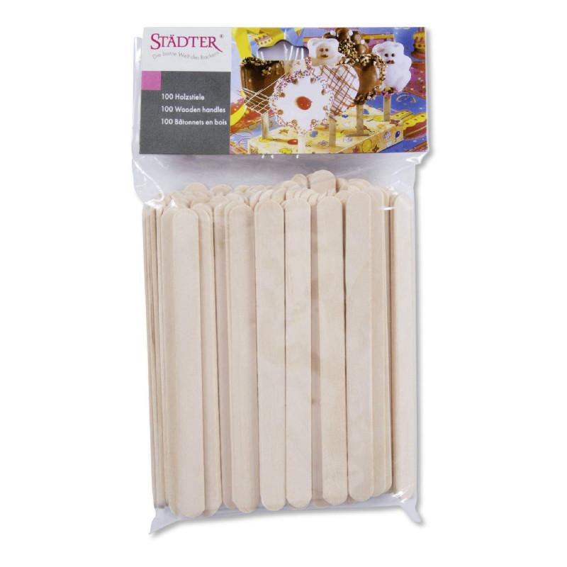 100 Bâtonnets en bois pour sucettes glaces et gâteaux