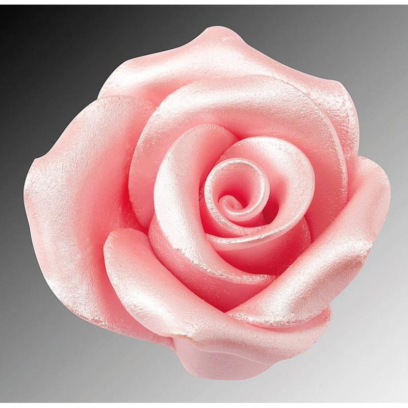 Flor Rosa rosa en azúcar 6 cm