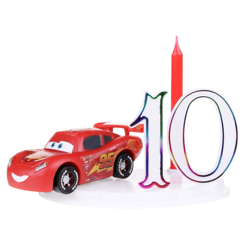 Set Bougie Cars avec figurine et chiffres