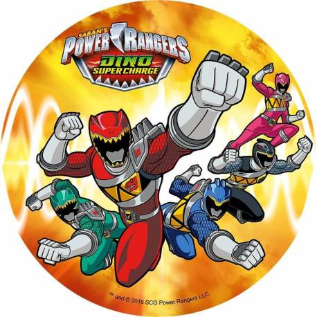 Disque en azyme Power Rangers 5 Personnages fond Orange