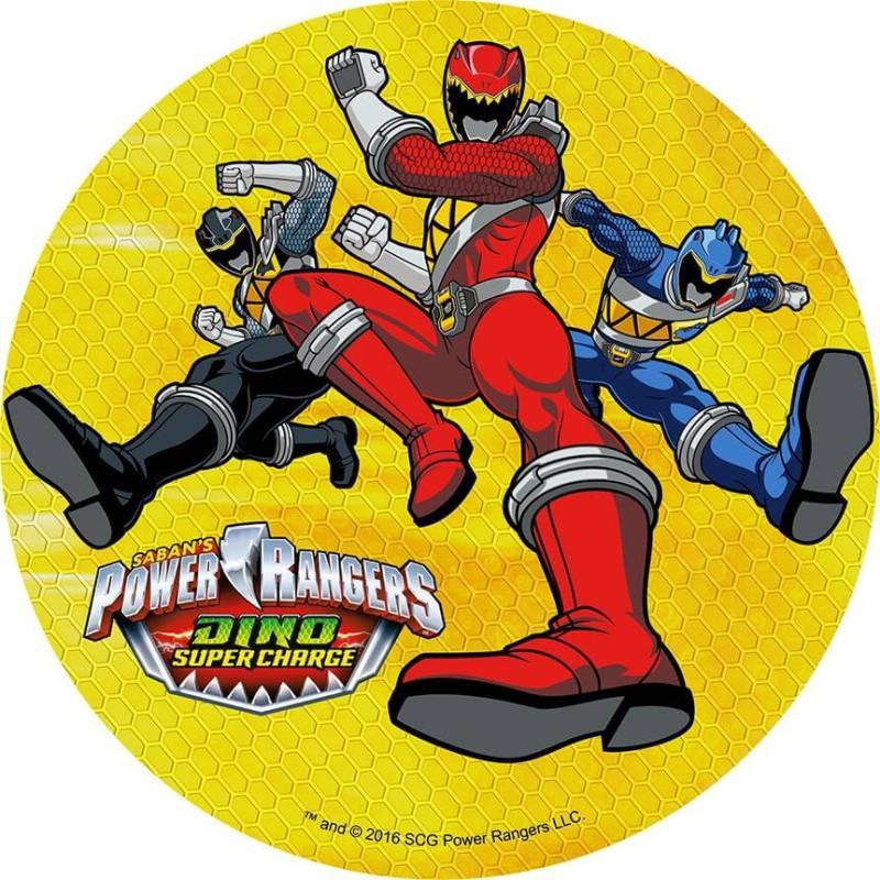 Disque en azyme Power Rangers 3 Personnages fond Jaune
