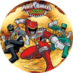 Disque en azyme Power Rangers 3 personnages fond beige