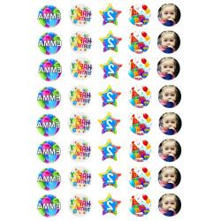 Impresión personalizada de alimentos de cumpleaños para merengues