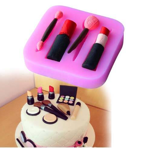 Lápiz Labial Maquillaje Molde de Silicona Fondant Pastel Decoración Molde para Chocolate Di