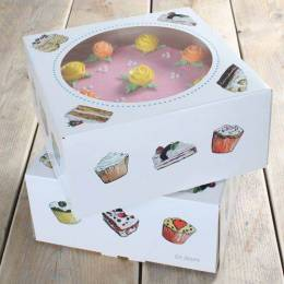 2 boxes of cakes decorated 26 cm x 12 cm