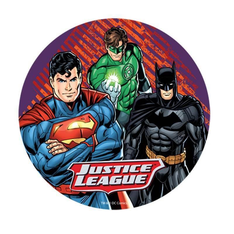Disco en papel de oblea Liga de la Justicia 3 personajes 20 cm