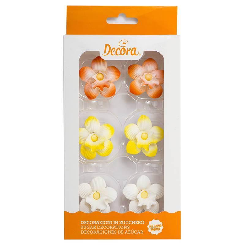 6 Mini Fleurs Orchidées en sucre