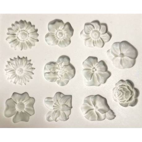 Silicone mold Assorted Flowers