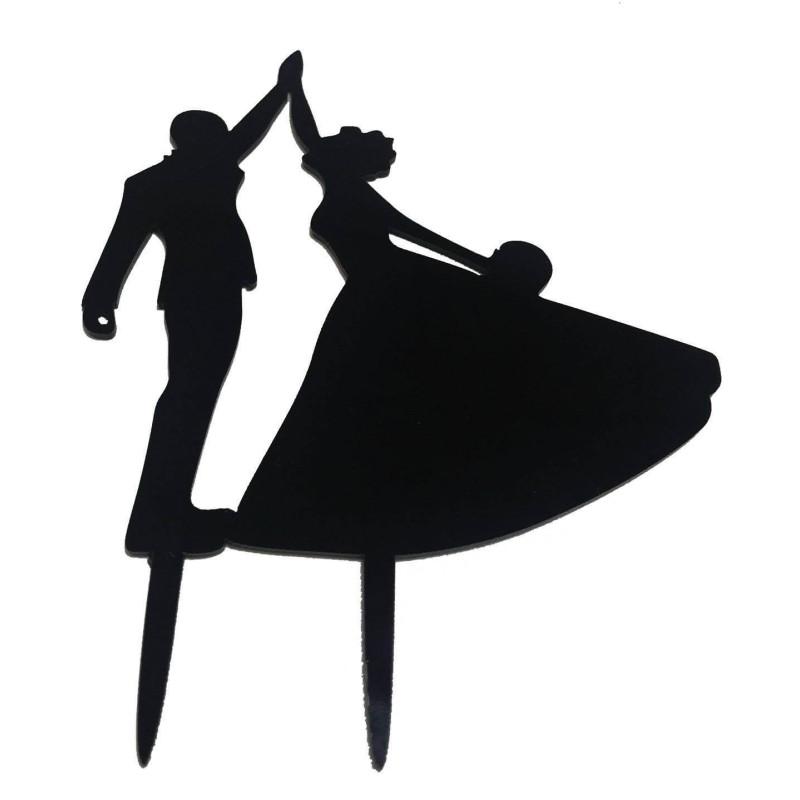 Topper Couple dansant couleur Noir laqué