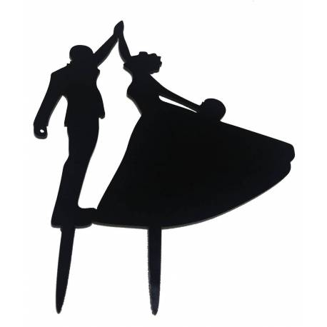 Topper Dancing Couple in Black lacquered color
